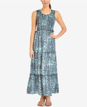 NY Collection Petite Printed Smocked-Bodice Maxi Dress