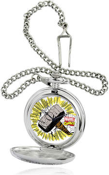 Marvel Thor Hammer Mens Silver-Tone Pocket Watch