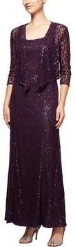 Alex Evenings Women's Sequin Lace Long Dress With Jacket