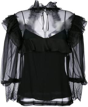 Alberta Ferretti ruffle and mesh blouse