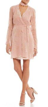WAYF Elroy Choker Neck Lace Wrap Dress