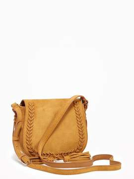 Sueded Whipstitched Saddle Bag for Women