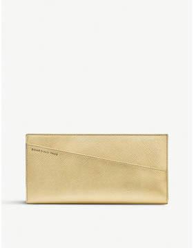 Smythson Panama slim metallic-leather travel wallet