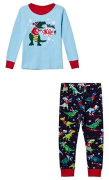 Hatley Blue Christmas Dino Applique and Printed Bottom Pyjamas
