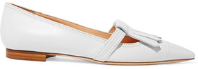 Rupert Sanderson Fringed Leather Point-toe Flats - White