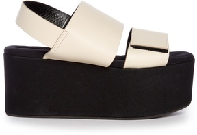 MARNI Leather and canvas flatform sandals