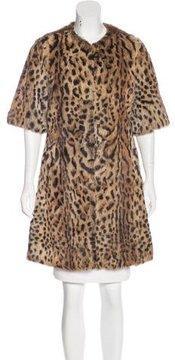 Adrienne Landau Leopard Print Rabbit Fur Coat
