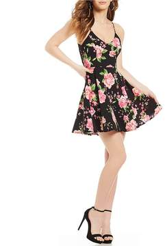 B. Darlin Lace-Back Floral Print Fit-And-Flare Dress