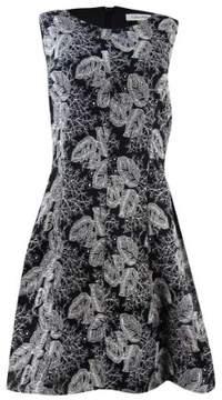 Calvin Klein Women's Embroidered Mesh A-Line Dress (12, Black/Cream)