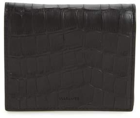 AllSaints Small Keel Croc Embossed Leather Wallet
