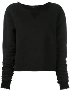 Amiri destroyed cropped sweatshirt