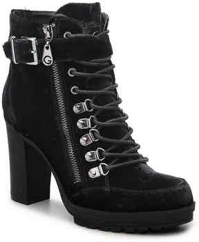 G by Guess Women's Grazzy Velvet Combat Boot