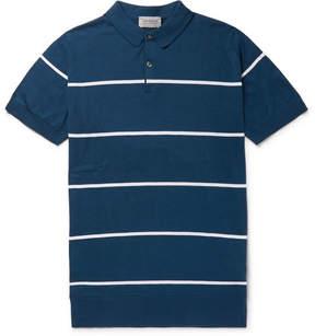 John Smedley Striped Sea Island Cotton Polo Shirt