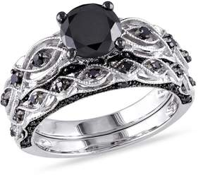 Black Diamond Amour 1 3/8 CT TW Bridal Set in 10k White Gold with Black Rhodium