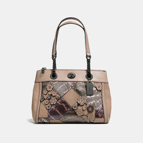 COACH Coach Turnlock Edie Carryall With Patchwork Snakeskin - DARK GUNMETAL/MULTICOLOR - STYLE