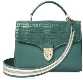 Aspinal of London Mayfair Bag In Deep Shine Sage Small Croc Smooth Sage With Stripe Strap