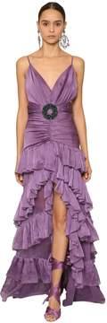 Ruffled Shiny Jersey & Chiffon Dress