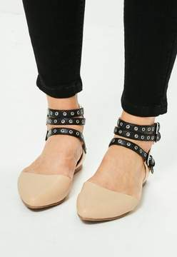 Missguided Nude Multi Strap Pointed Flats