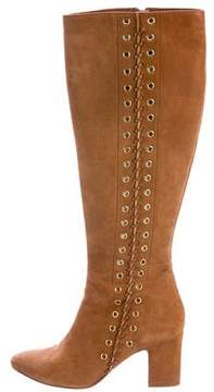 Tamara Mellon Suede Embellished Knee-High Boots