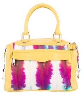 Rebecca Minkoff Leather-Trimmed Printed Satchel - YELLOW - STYLE