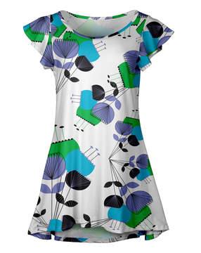 Lily White & Light Blue Abstract Ruffle-Sleeve Tunic - Women & Plus