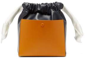 Sophie Hulme Knot Leather Bucket Bag - Womens - Tan Navy