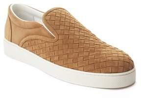 Bottega Veneta Men's Camel Intrecciato Suede Slip-on Sneaker Shoes Beige.