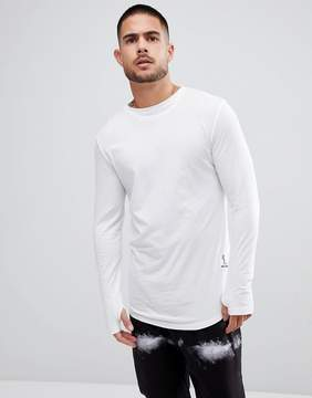 Religion Long Sleeve T-Shirt With Curved Hem and Double Neck
