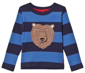 Joules Navy and Blue Bear Applique Long Sleeve Tee