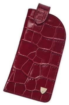 Aspinal of London Slimline Glasses Case In Deep Shine Bordeaux Croc Navy Suede