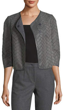 Emporio Armani Leather Woven Crop Jacket