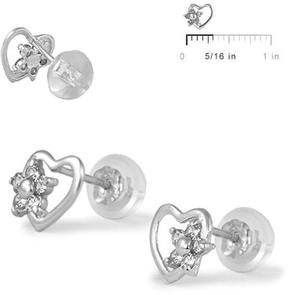 Ice 14K White Gold Heart Flower Girls' Stud Earrings