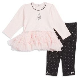 Little Me Baby Girls Two-Piece Ballet Print Cotton Dress and Leggings Set