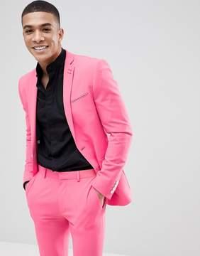 Asos DESIGN Super Skinny Suit Jacket In Pink Lemonade