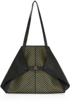 Akris Ai Medium Leather Herringbone Tote