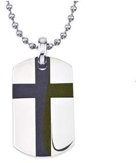 Armani Exchange Jewelry Men's Cross Dog Tag Pendant In Stainless Steel.