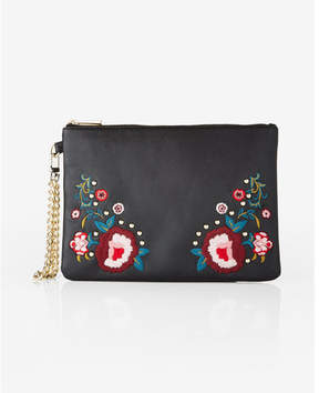 Express Floral Embroidered Wristlet