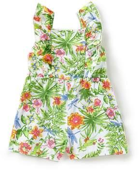 Flapdoodles Little Girls 2T-6X Botanical-Print Ruffle Romper