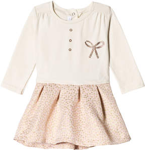 Absorba Cream Glitter Bow Jersey Dress