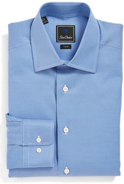 David Donahue Textured Trim Fit Dress Shirt