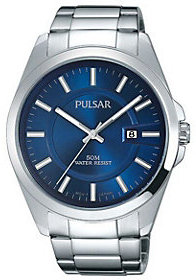 Pulsar Men's Stainless Watch with Blue Dial