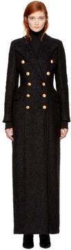 Balmain Black Mohair Maxi Coat