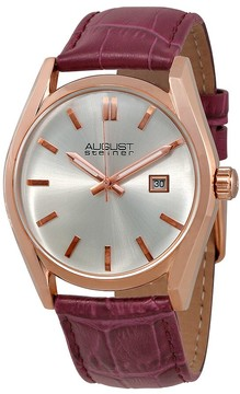 August Steiner Silver Dial Ladies Purple Leather Watch