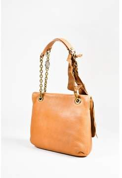 Lanvin Pre-owned Tan Leather Bronze Tone Chain Link happy Shoulder Bag.