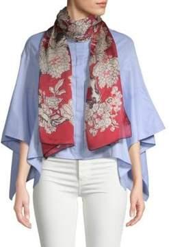 Valentino Graphic Floral Silk Stole