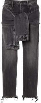 Alexander Wang Tie-front Frayed High-rise Straight-leg Jeans - Dark gray