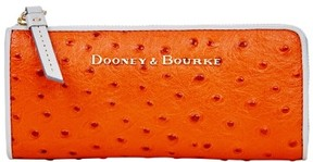 Dooney & Bourke Ostrich Zip Clutch Wallet - GERANIUM LIGHT GREY - STYLE