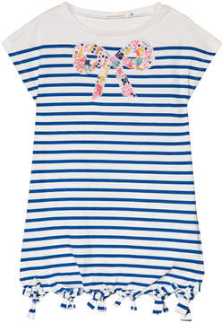Billieblush Blue Stripe Beaded Bow Detail Jersey Dress