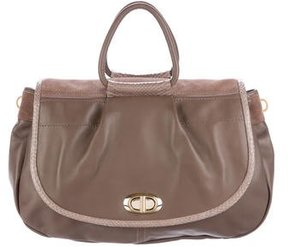 Nina Ricci Snakeskin-Trimmed Leather Satchel