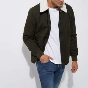 River Island Mens Dark green fleece collar jacket